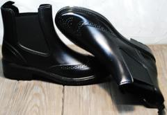 Красивые резиновые сапоги женские W9072Black