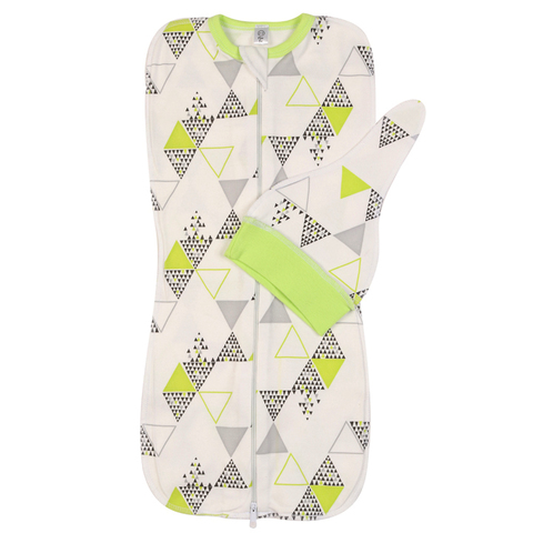 Mini Fox. Комплект пеленка-кокон и шапочка 0-3 мес., зеленые треугольники