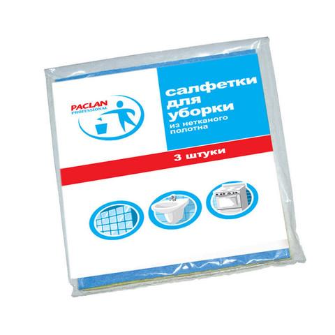 Салфетки хозяйственные Paclan вискоза 38x30 см синие 3 штуки в упаковке