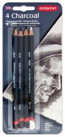 Набор угольных карандашей CHARCOAL, d:4,00мм, 4шт, блистер