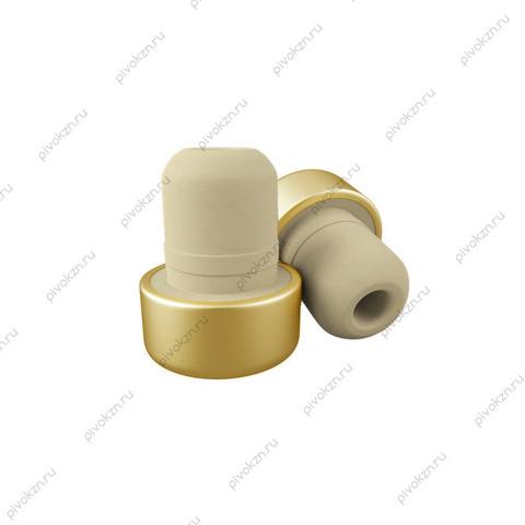 Коньячная пробка полимерная, алюминиевый верх (золото) 19 мм, 10 шт
