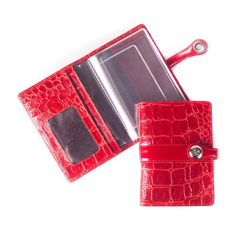 Обложка для автодокументов Grand из натуральной кожи красного цвета (02-040-3251)
