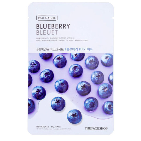 Тканевая маска для лица с голубикой THE FACE SHOP Real Nature Blueberry