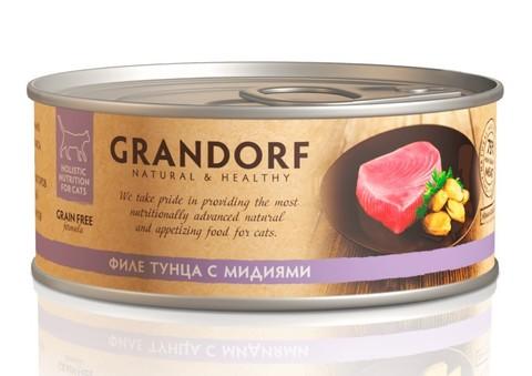 Grandorf консервы для кошек (филе тунца с мидиями) 70г