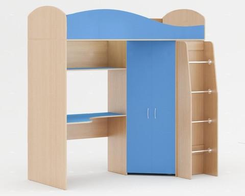 Кровать-чердак Д-01 дуб беленый / синий