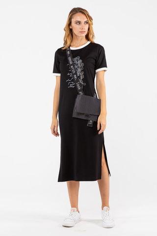 Фото черное трикотажное платье длины миди с разрезом - Платье З462б-690 (1)