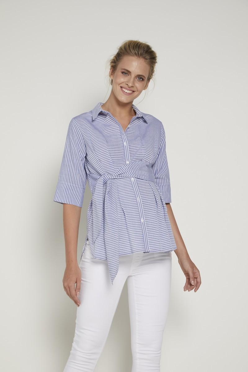 Блузка для беременных 09349 синяя/белая полоска