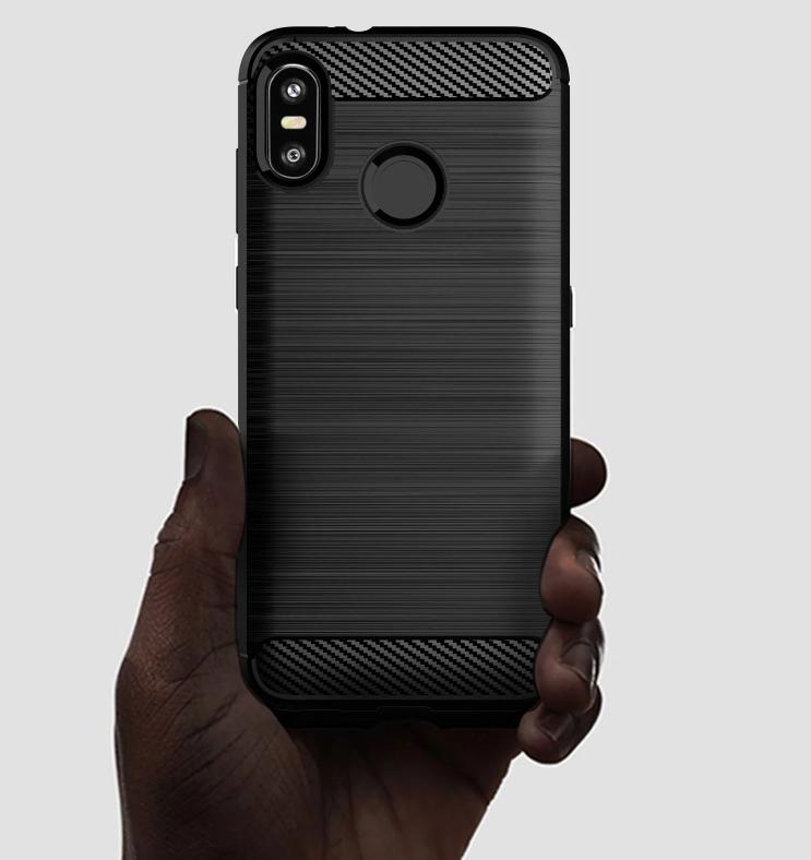 Чехол HTC U12 Life цвет Black (черный), серия Carbon, Caseport