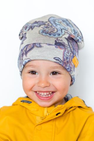 детская шапка из турецкой шерсти пейсли-огурцы бирюзово-бежевая