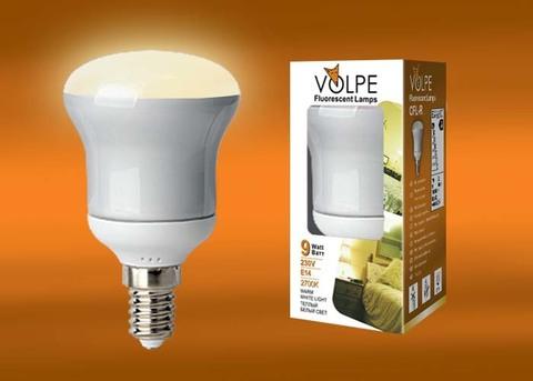 CFL-R 50 220-240V 9W E14 2700K Лампа энергосберегающая VOLPE. Картонная упаковка