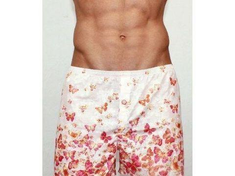 Мужские шорты домашние розовые с красными бабочками Romeo Rossi Shorts RR00304
