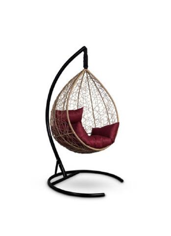 Подвесное кресло-кокон SEVILLA горячий шоколад + каркас + бордовая подушка