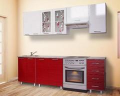 Кухня МАРТА 1,6 страйп красный