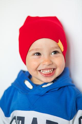 детская шапка хлопковая гладкая красная