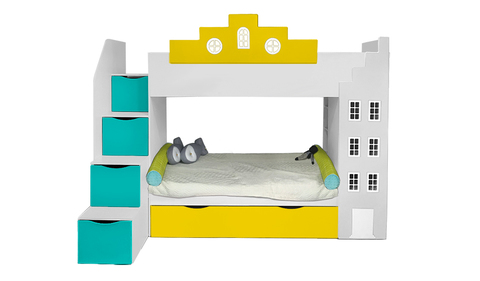 Двухъярусная кровать-домик с встроенным шкафом