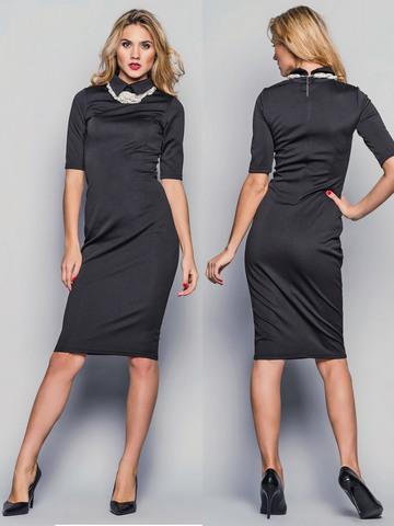 Платье-футляр с воротником, черное 1