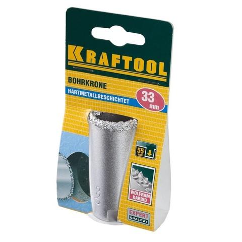 Коронка KRAFTOOL кольцевая с напылением из карбида вольфрама, 33мм