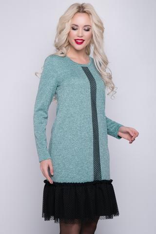 <p>Элегантное платье из трикотажного полотна в сочетании с пышной оборкой из двух тканей и планкой по переду из сетки-стрейч. Отличная модель для модного и комфортного выхода в свет. <span>(Длины: 46-48=95см; 50-52=96см)&nbsp;</span></p>