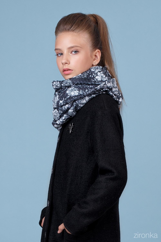 Пальто черное для девочки 50-8001-1
