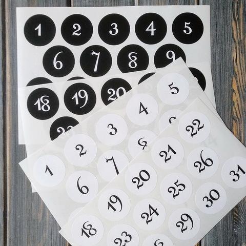 Наклейки цифры для АДВЕНТ-календаря (от 1 до 31)
