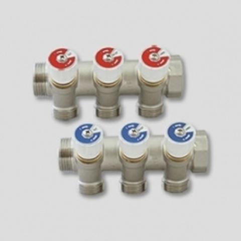 Коллектор НВ 3/4 3х1/2 Н 40мм никелированный с вентилями Uni-Fitt