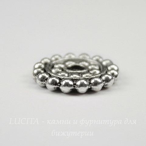 """Бусина металлическая - спейсер """"Бусинки"""" 14х2 мм (цвет - античное серебро)"""