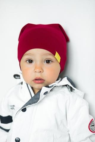 Детская шапка хлопковая гладкая тонкая винно-бордовая