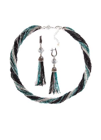 Комплект украшений черно-зеленый (длинные серьги из бисера, бусы из бисера 24 нити)