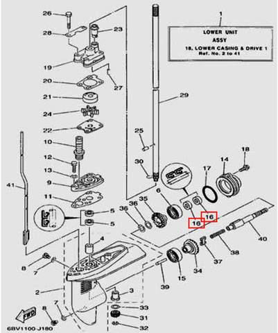 Сальник горизонтального вала 22*12*7 для лодочного мотора F5 Sea-PRO(18-16)