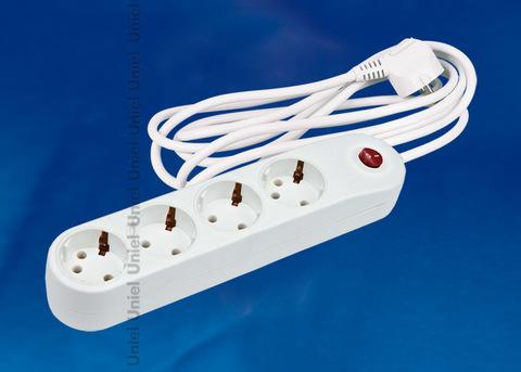 S-GSP4-3C Фильтр сетевой Uniel серии стандарт «Classic», с/з, 4 гн., шнур 3 м, защита от перенапряжения, кз, импульсных помех, цвет – белый