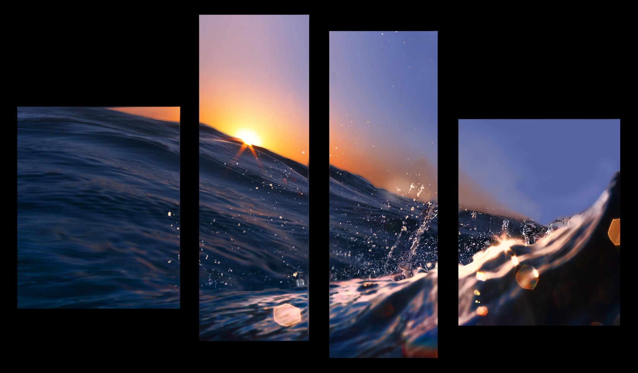 """Природа Модульная картина """"Волна океана"""" М1040_M_загибы_90х68.png"""