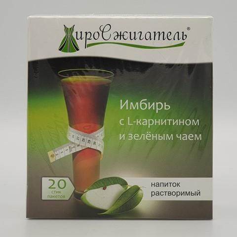 Жиросжигатель Имбирь с L- карнитином и зеленым чаем растворимый 20 пак по 5 гр BIONOVA, 100 гр