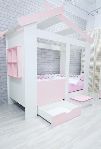 Кровать Теремок  с ящиком и ступенькой