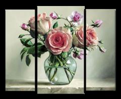 """Модульная картина """"Розы в стеклянной вазе"""""""