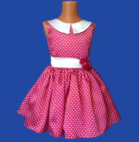 Платье малиновое в горох с воротничком