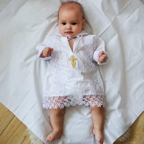 Крестильная кружевная рубашка для мальчика
