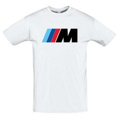 Футболка с принтом БМВ М (BMW M) белая