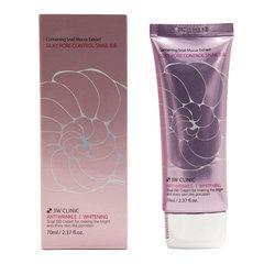 3W Clinic Silky Pore Control BB Cream Pink - BB-крем улиточный с себум контролем