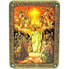 Инкрустированная Икона Воскресение Христово - Пасха 29х21см на натуральном дереве, в подарочной коробке