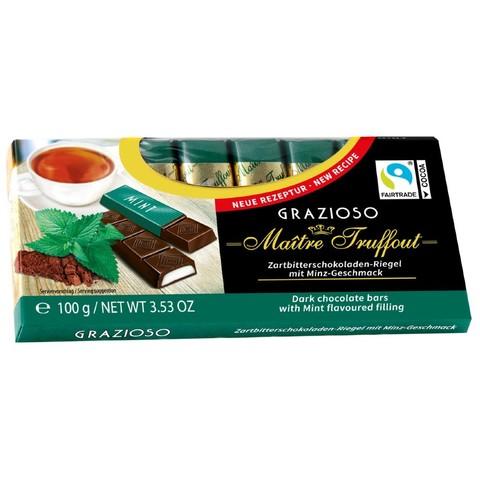 Темный шоколад с мятой GRAZIOZO Maitre Truffout, 100г