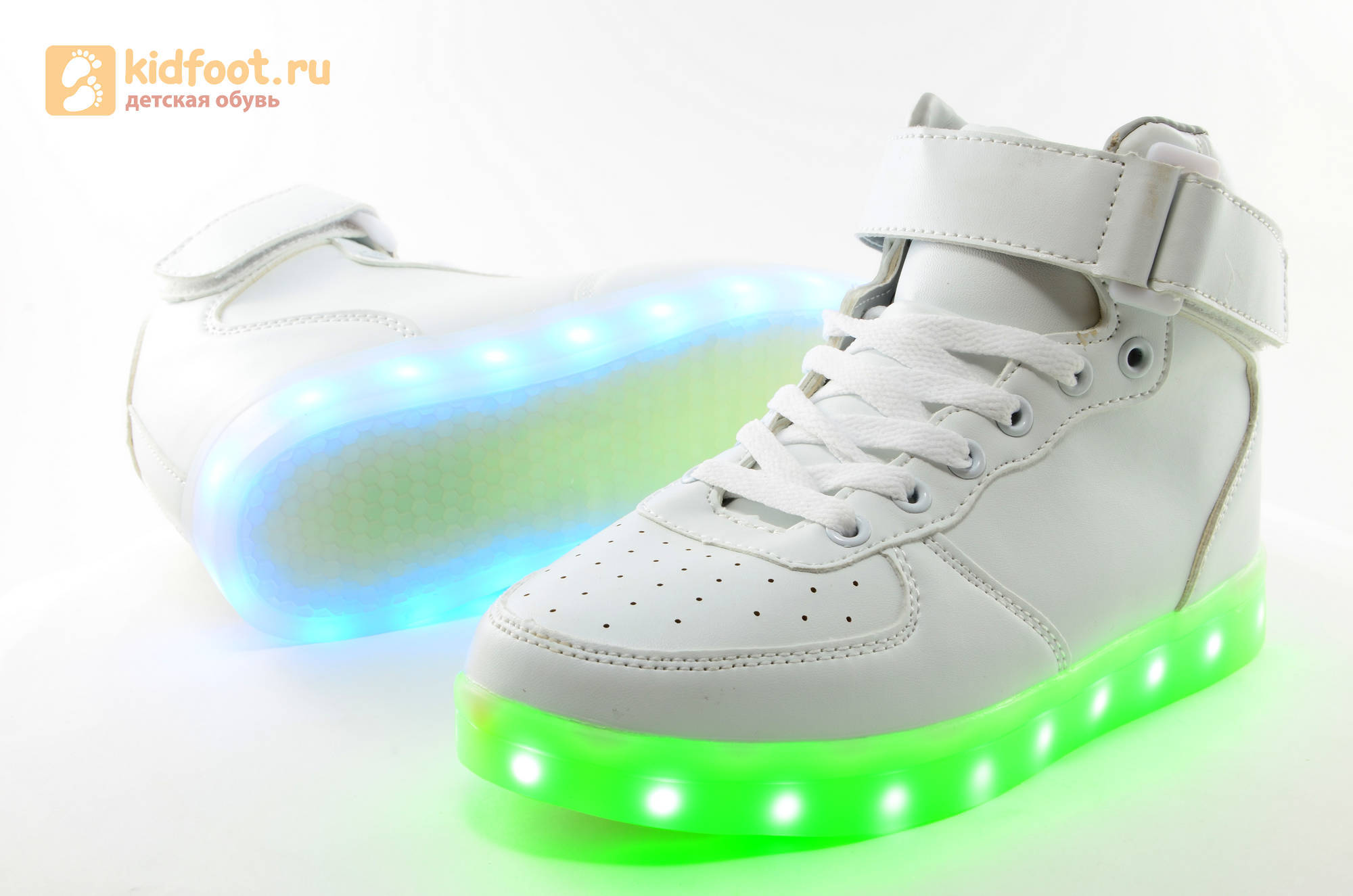 Светящиеся высокие кроссовки с USB зарядкой Fashion (Фэшн) на шнурках и липучках, цвет белый, светится вся подошва