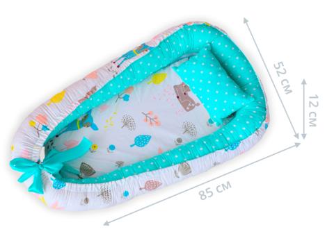 Кокон гнездышко для новорожденных 85*52 см 05-02 унисекс мятный