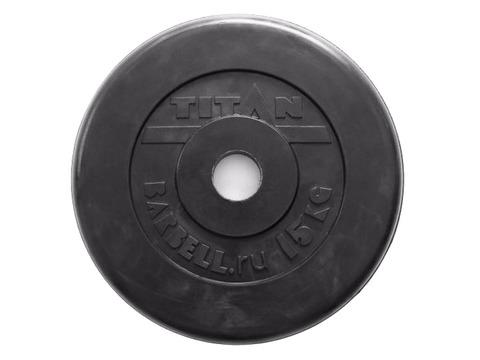 Диск для штанги стальной, цельнометаллический, обрезиненный. Диаметр внутренний 26 мм. Вес 15 кг.