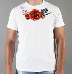 Футболка с принтом Цветы (Маки) белая 004
