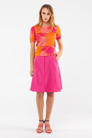 Фото модный оранжевый т-шот с малиновым цветочным принтом - Т-шот М371-443 (1)
