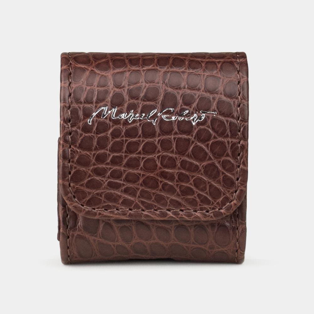 Чехол-держатель для наушников Petit Bisness из натуральной кожи аллигатора, коричневого цвета