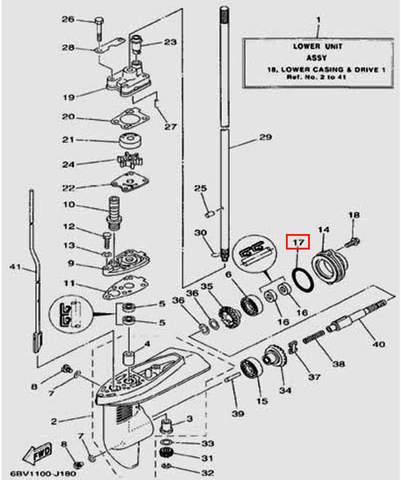 Уплотнительное кольцо 3.5*47.5 для лодочного мотора F5 Sea-PRO(18-17)