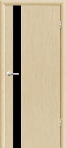 Дверь 3/1  стекло белое/чёрное (орех капучино, остекленная экошпон), фабрика Ладора
