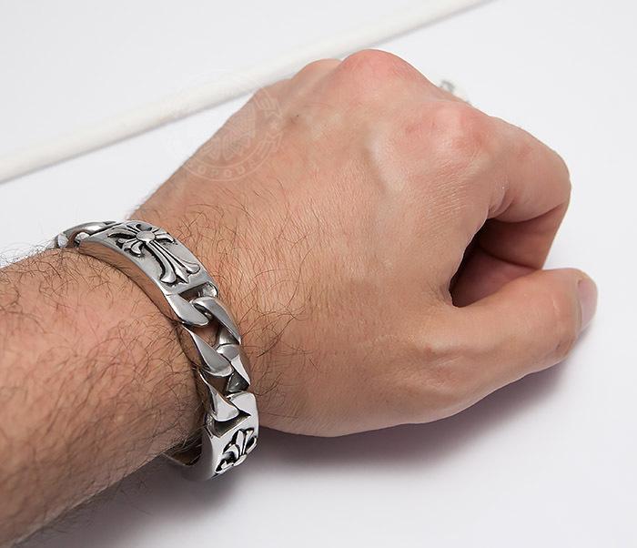 BM484 Стальной мужской браслет цепь с крестами (21,5 см) фото 09