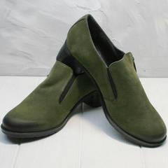 Удобные туфли кожаные женские демисезонные Miss Rozella 503-08 Khaki.